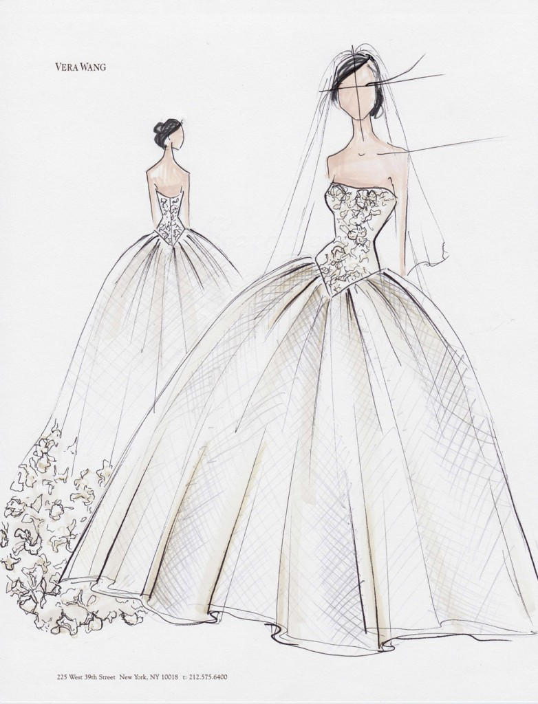 Vera Wang – Kim Kardashian\'s Wedding Gown Sketches | SMD - Weddings Blog